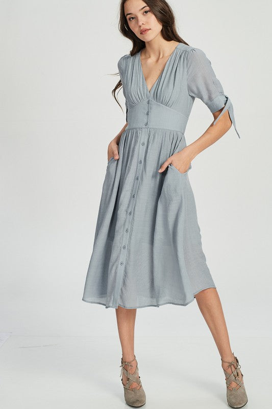 All Eyes on Me Dress, Grey, Buttons, Boho Pretty, Trendy