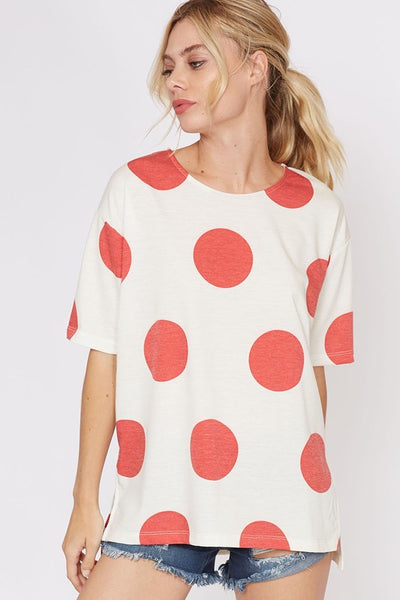 Dots Alot Printed Short Sleeve Top