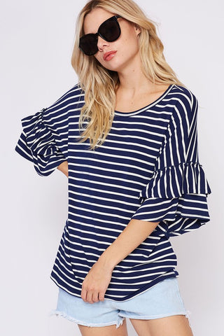 Genuine Beauty Ruffled Sleeve Top