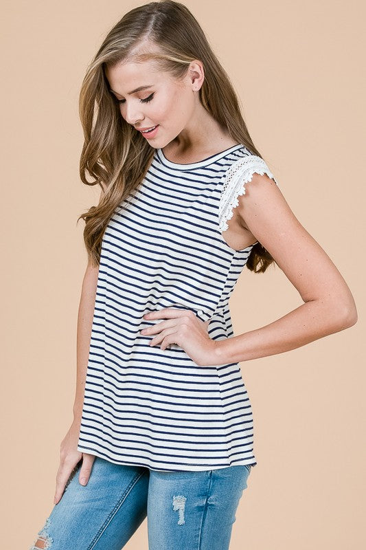 Summer Stripes and Eyelet Top