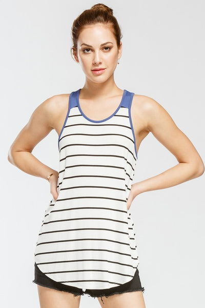 Sunkissed Tank Top, Slate Blue, Stripes, Stretchy, Soft, Trendy