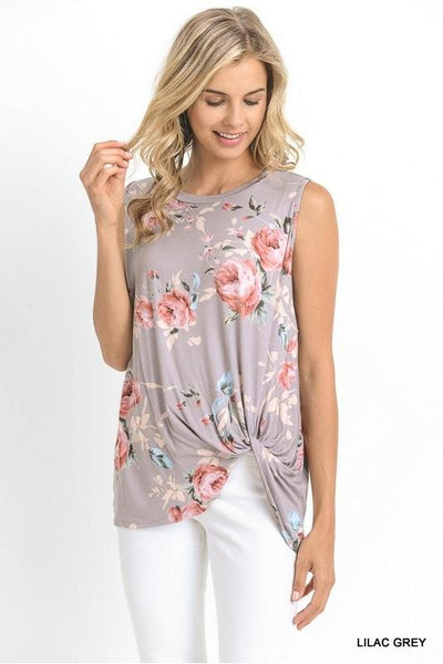 Best of All Top, Lilac Grey, Floral, Twisted Detail, Fashion
