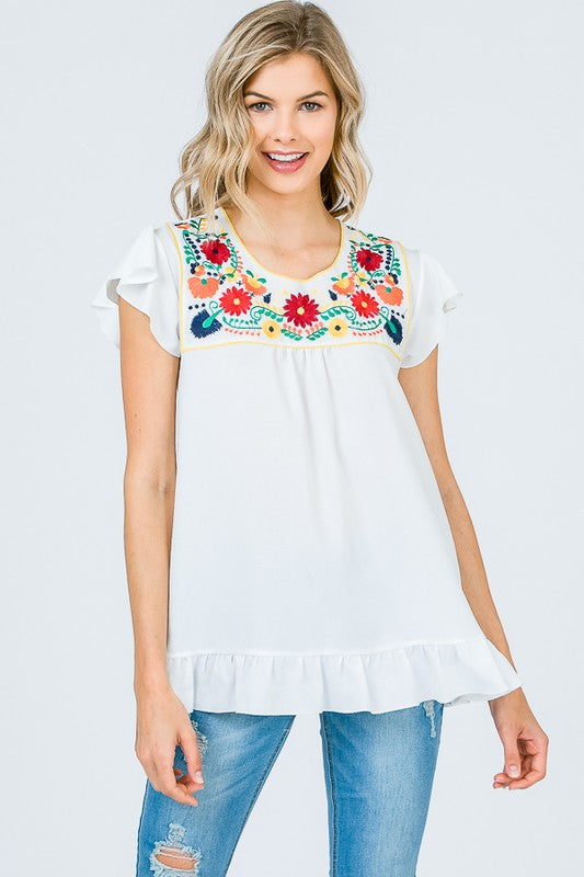 Embroidered Daisy Ruffle Top