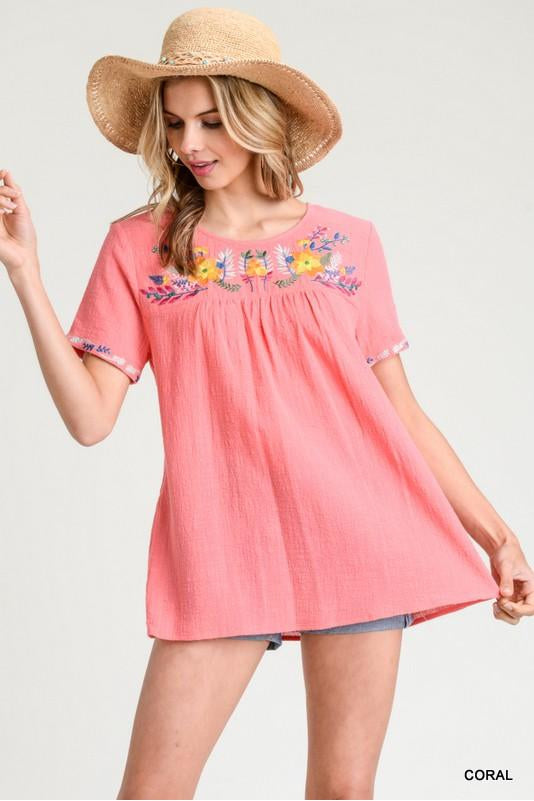 Sweet Surprise Top, Embroidery, Coral, Fashion, Trendy, Boho Pretty