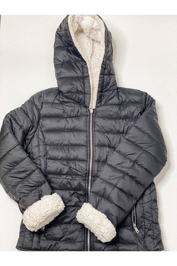 Sherpa Fleece Lined Reversible Puffer Jacket