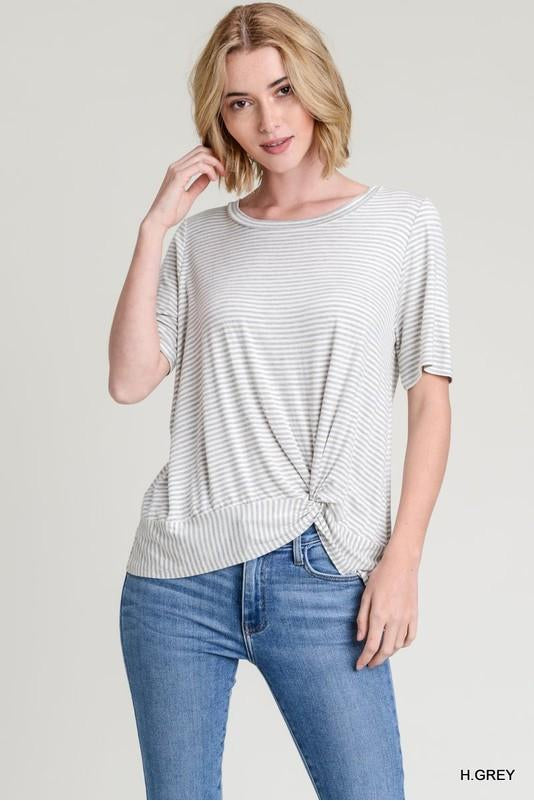 Everyday Summer Top, Grey, Knot Tie, Trendy, Fashion