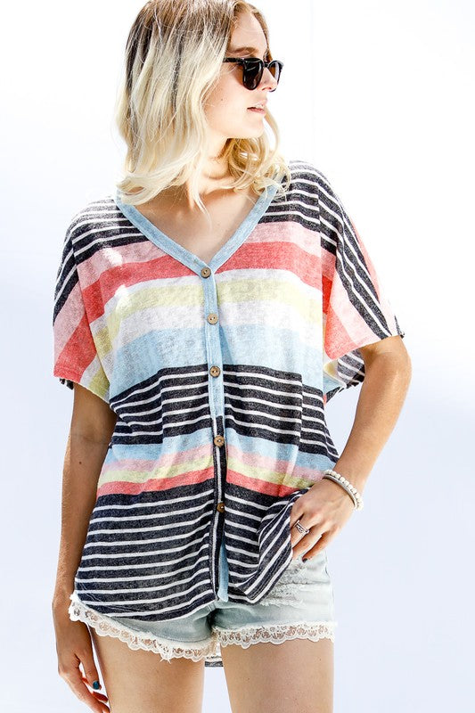 Island Vibes Top, Boho Pretty, Stripes, Multi Color, Buttons, Chic