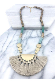 Precious Stone Necklace, Grey, Mauve, Taupe, Accessories, Boho Pretty