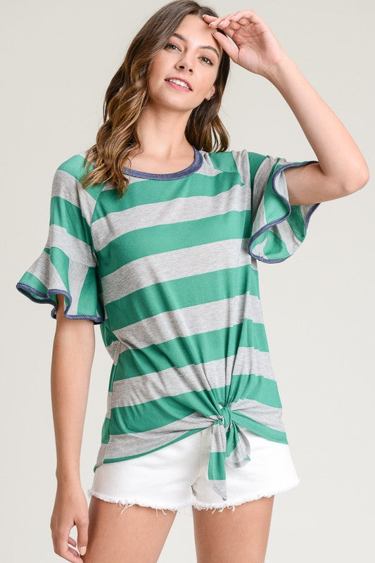 Day Dreaming Top, Stripes, Emerald, Self Tie, Ruffles, Fashion