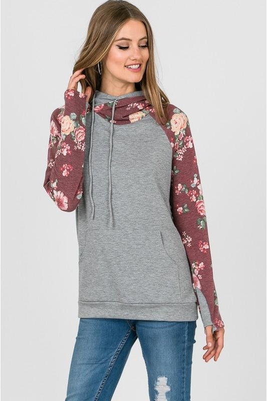 Floral In Fall Hoodie, Double Hooded, Thumb Holes, Boho Pretty