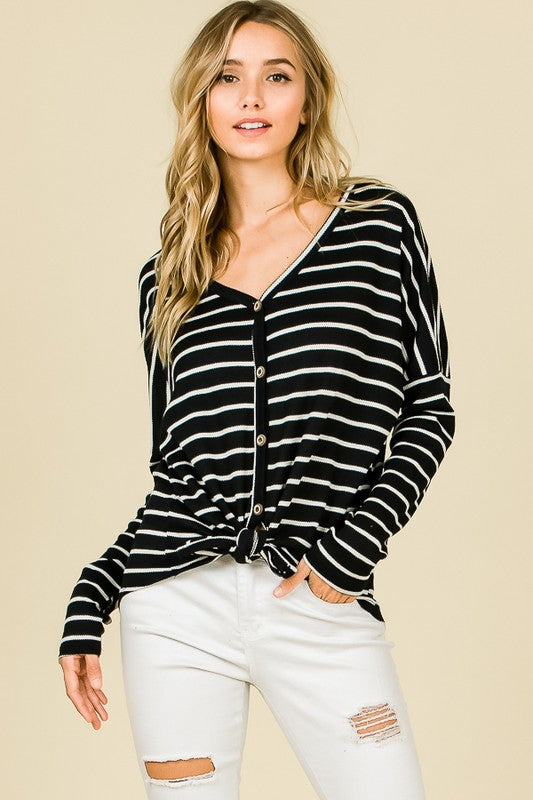 Stripe Season Top, Buttons, Front Tie, Trendy, Boho Pretty