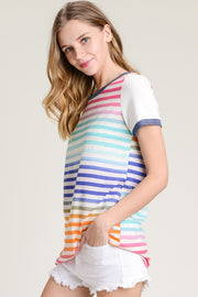 Always Stripes Top, Shirt, Multi Color, Stripes, Crew neck, Trendy