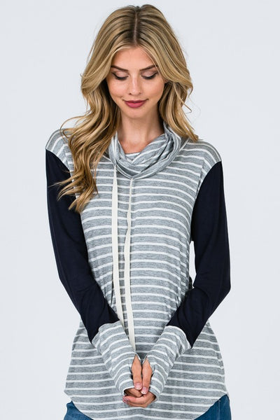 Never Forget Top, Cowl Neck, Stripes, Thumb Holes, Boho Pretty