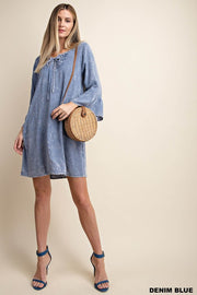 Vera Dress Washed Frill Sleeve Shift Dress