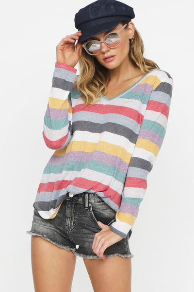 Multi color stripe tri-blend v-neck top