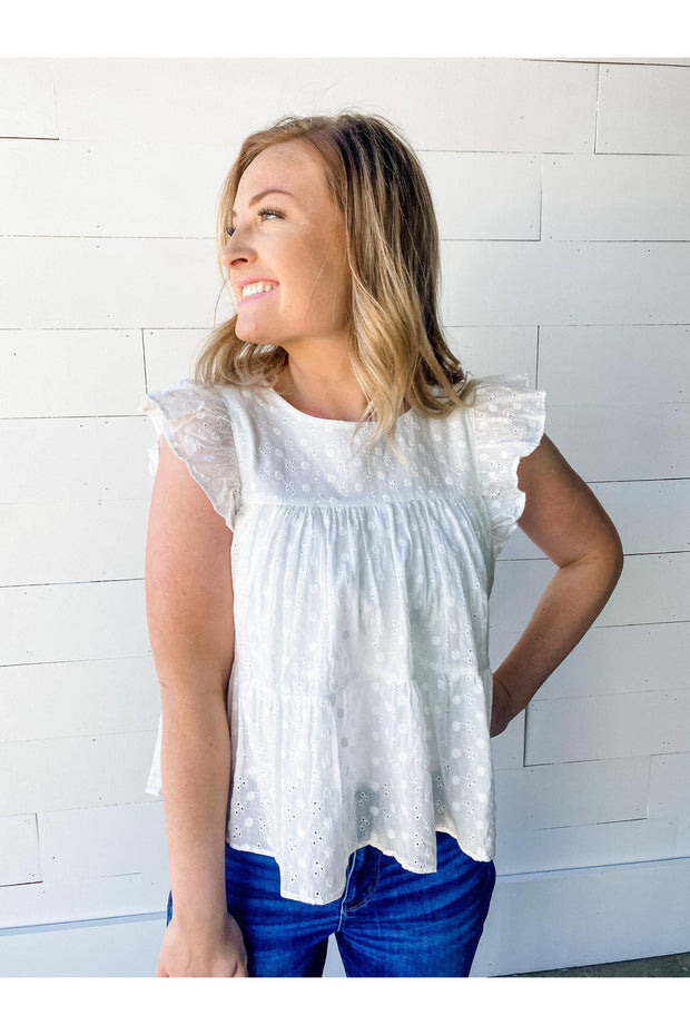 Eyelet Tiered Babydoll Top