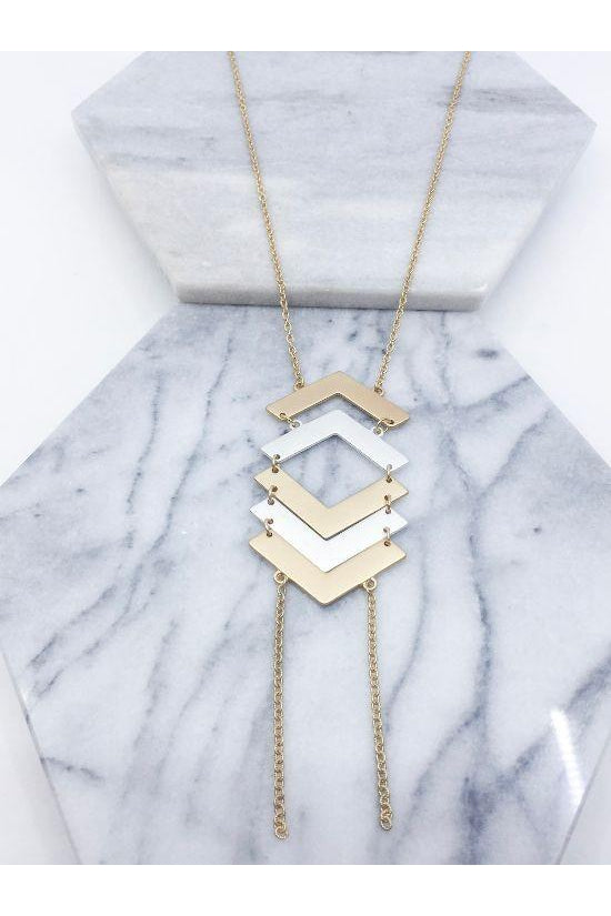 Tiered Chevron Necklace, Gold, Multi, Accessories, Jewelry, Boho Pretty