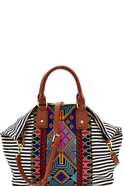 Aztec and Striped Satchel - bohopretty.com