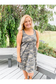 Knit, Summer, Dress, Camo, Pockets, Racerback, Online Shop, Boho Pretty, Boutique, Summer Dress