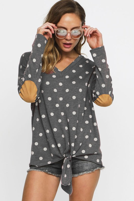 Polka Dot and Patch Top, Elbow Patches, Fashion, Boho Pretty