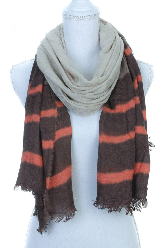 Multi Colored Scarf, Oblong, Brown, Winter Fashion, Boho Pretty