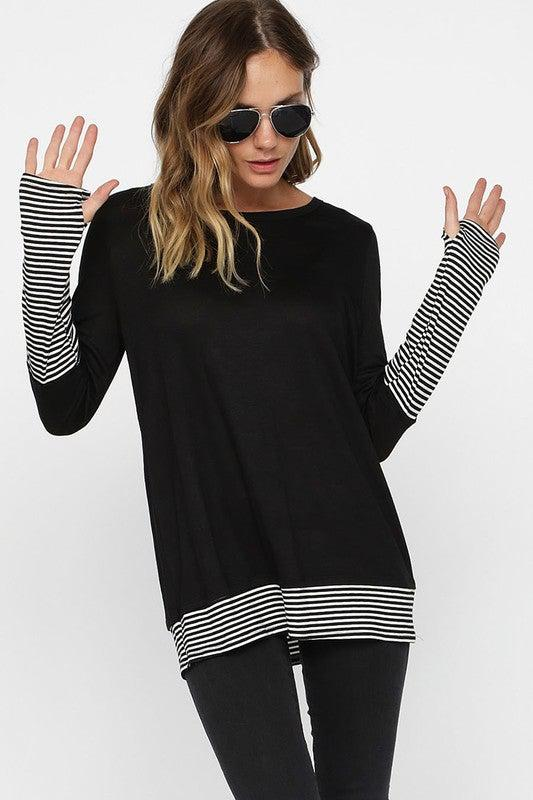 Knit top with pin stripe cuffs