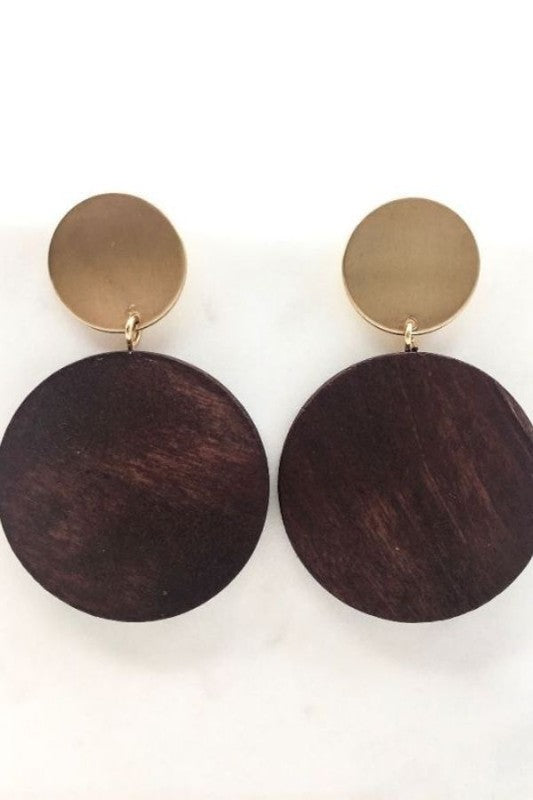 Wood Disc Earrings, Accessories, Fashion, Trendy, Boho Pretty