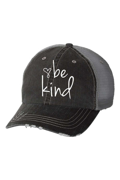Be Kind Trucker hat with mesh back and velcro closing.   Professionally Embroidered with Industrial machine. Grey Distressed Trucker Hat.  80% cotton/20% polyester, Herringbone fabric 100% polyester mesh back Unstructured, six-panel, low-profile Pre-curved fray visor with contrasting undervisor Velcro closure