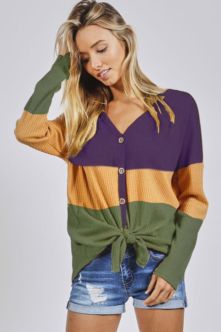 Color block thermal waffle buttoned front top with front tie