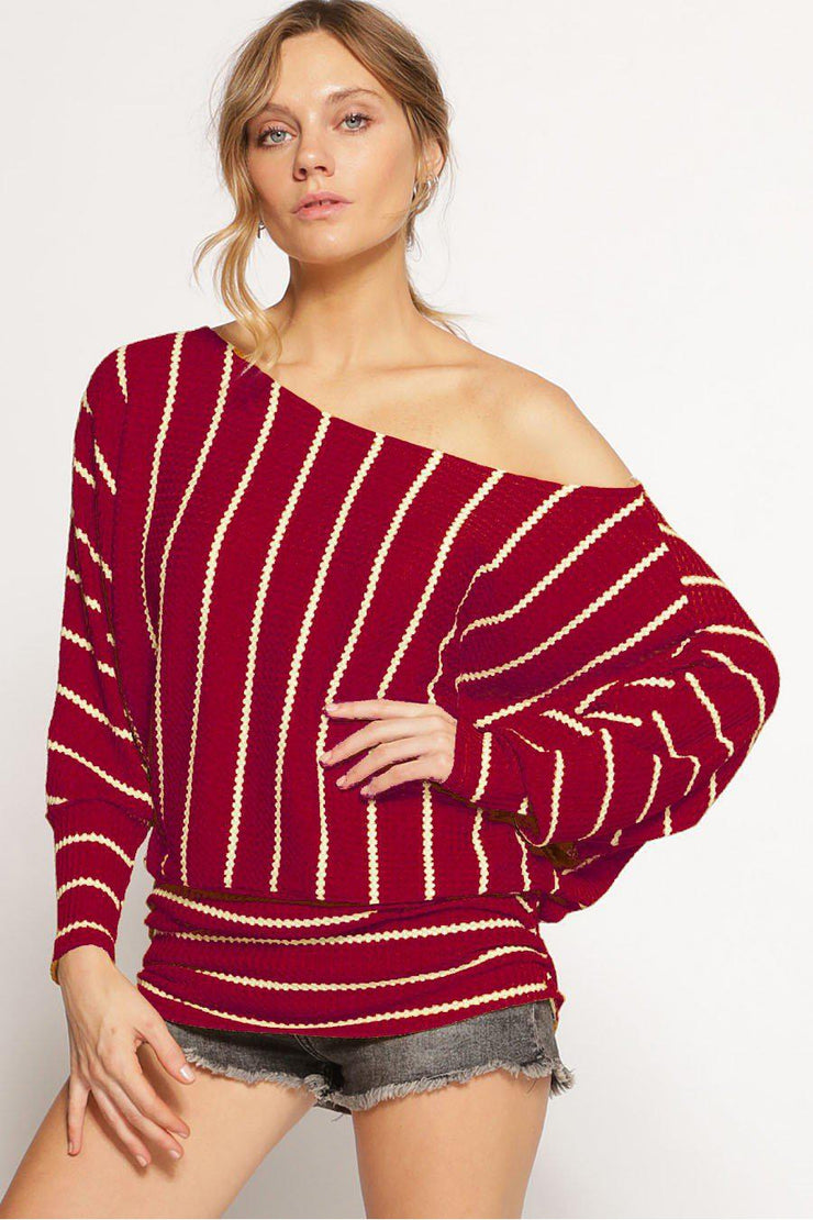 One shoulder stripe thermal knit top with ruched sides