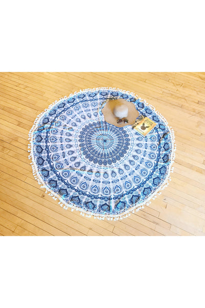 Peacock Blue Round Beach Throw