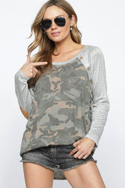 Camo knit top with contrast sleeves, buttoned raglan and faux suede elbow patch