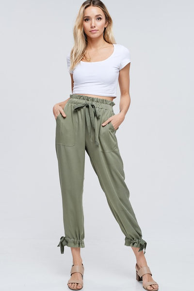 Paper Bag Elastic Waist Cargo Pants With Tie Cuffs and Pockets  100% Rayon