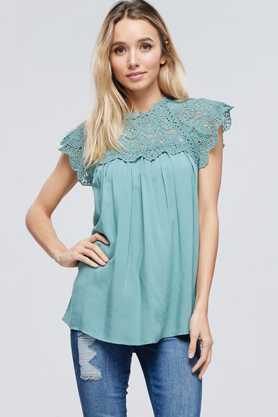 Sleeveless Solid Top with Lace Crochet Contrast  100% Rayon