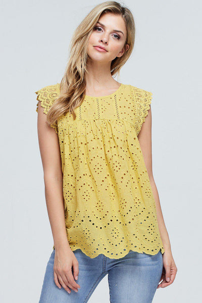 Sleeveless Top With Crochet Contrast   100% Cotton