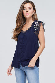 Button Down Solid Top with Lace and Embroidery Contrast   100% Rayon