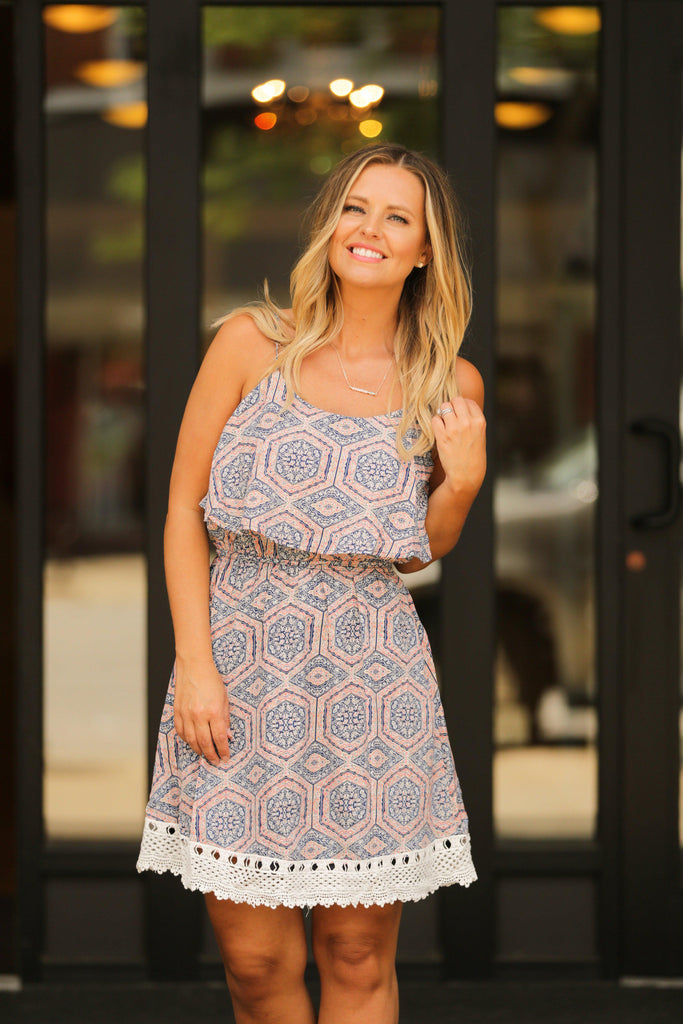 Navy and Coral Geo Dress