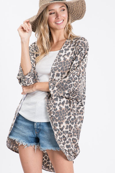 Chic Animal Print Open Front Cardigan.