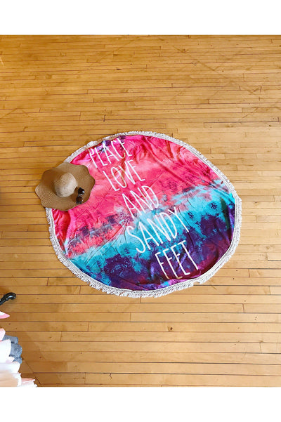 Peace Love and Sandy Feet Round Beach Towel