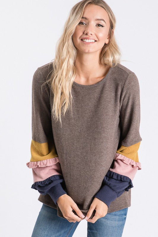 BRUSHED SOLID TOP W/ COLOR BLOCK RUFFLE DETAIL LONG SLEEVE  boho pretty boutique
