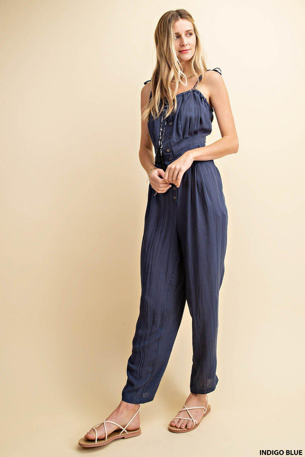 Button Down Tube Top Jumpsuit With Tucks and Back Waist Smocking.   80% Rayon 20% Nylon