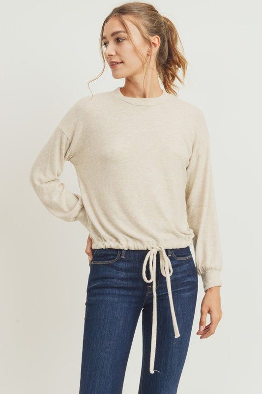 Balloon Sleeve Brushed Knit Top Oatmeal Boho Pretty Boutique Online Shop Fall Winter Fashion.10