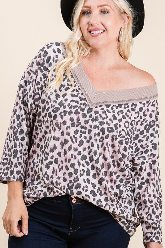 Banded V-Neck Drop Shoulder Leopard Top Soft Reborn J The Plus Boho Pretty Boutique womens plus size fall clothing curvy boutique clothing6