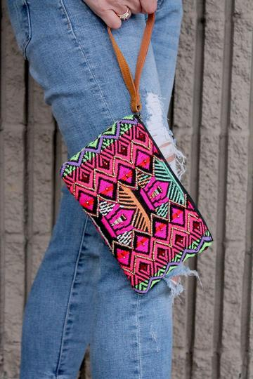 Embroidered and Beaded Wristlet