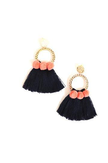 Fringe and Pom Pom Earrings