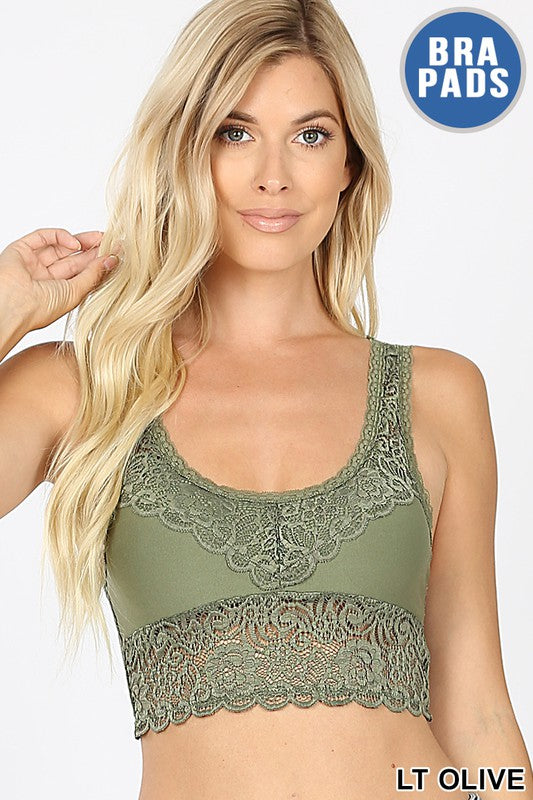 Bralette,Olive, Lace, Removable Bra Pads, Boho Pretty, Style, Fashion, Boutique, Womne's Clothing