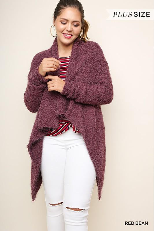 Bundle Up Cardigan, Open Front, Plus Size, High Low Hem, Boho Pretty