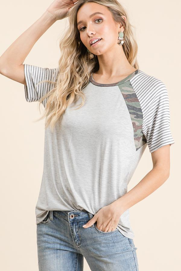 Camo and Stripes Knit Top