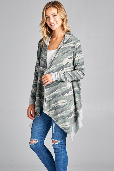 camo french terry long sleeve cardigan boho pretty womens fall clothing