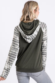 Charcoal Tie Dye Stripe Side Zip Double Hoodie 7th Ray Boho Pretty Boutique Womens Fall Clothing